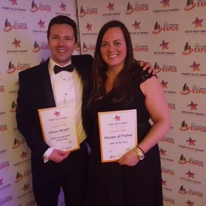 James Wright and Trine Oestergaard with our award certificates at Thames Valley Awards 2018